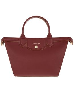 Le Pliage Heritage Leather Tote Rouge Laquer