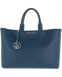 Eco-saffiano Leather Shopping Bag Ocean Blue