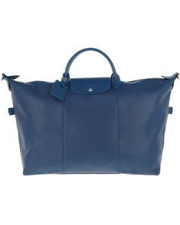 Le Pliage Leather Travel Bag Bleu
