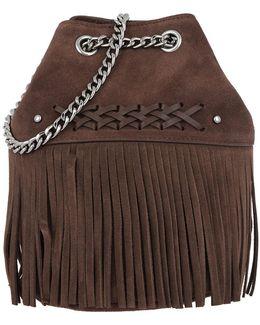 Eloise Mini Drawstring Bucket Bag Suede Burnished Brown