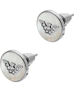 Ladies Signature Earrings Stainless Steel Silver