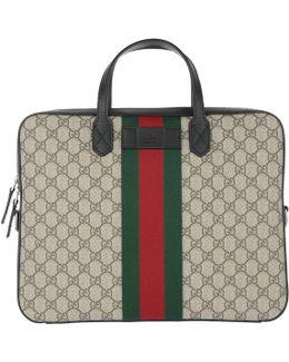 Gg Supreme Canvas Briefcase Ebony/brown