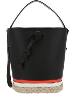 Vittoria Small Bucket Bag Drawstring Leather Bast Black