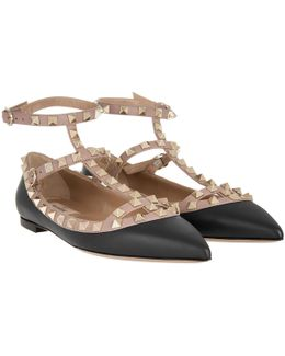 Rockstud Pointed Strappy Ballerinas Nero Poudre
