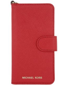 Electronic Leather Folio Iphone 7 Case Bright Red