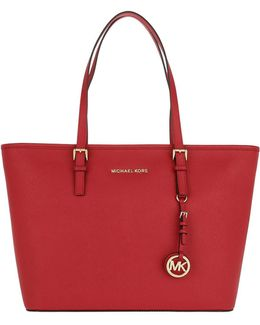 Jet Set Travel Tz Leather Tote Bright Red