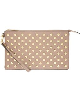 Daniela Facetted Studs Lg Wristlet Leather Fawn