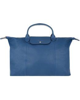 Le Pliage Leather Shopping Bag Bleu