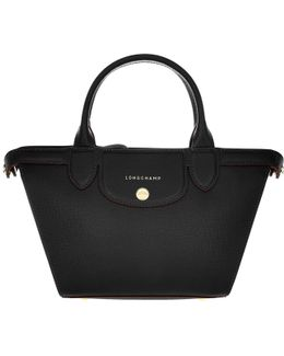 Le Pliage Heritage Leather Tote Small Noir
