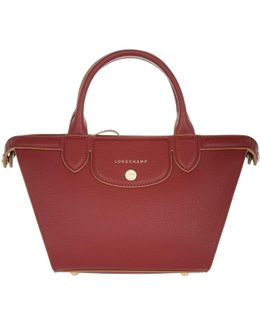 Le Pliage Heritage Leather Tote Small Rouge