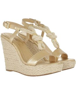 Holly Metallic Leather Wedge Pale Gold