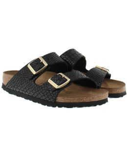 Arizona Bs Narrow Fit Sandal Shiny Snake Black