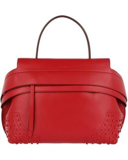 Wave Tote Bag Small Calfskin Rosso