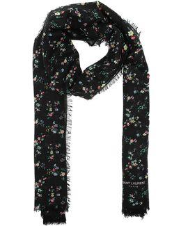 Jardin Fleurs Wool Scarf Black