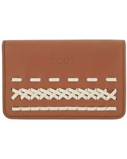 Cardholder Leather White/brown