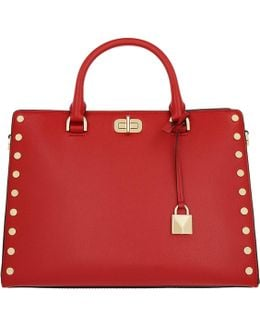 Sylvie Stud Lg Satchel Bag Bright Red