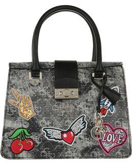 Elia Small Satchel Bag Black Denim