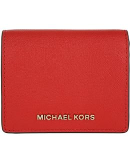 Jet Set Travel Flap Card Holder Leather Bright Red