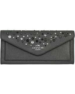 Pollished Leather Soft Wallet Metallic Graphite