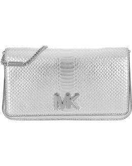 Mott Large Embossed Leather Clutch Silver