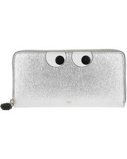 Large Zip Around Wallet Eyes Silver Metallic Capra