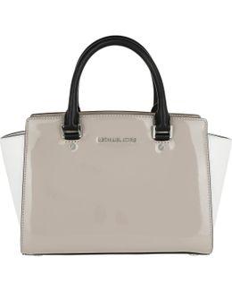 Selma Md Tz Satchel Leather Bag Cement