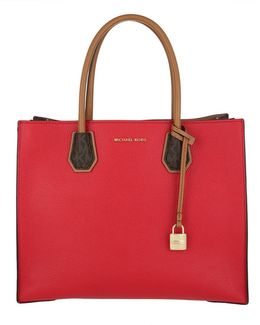 Mercer Lg Convertible Tote Leather Bright Red