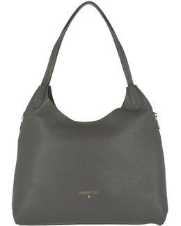 Leather Shopping Bag Dark Grey Gun Metal