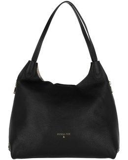 Shopping Bag Grained Leather Black\gun Metal