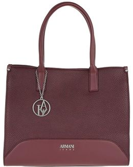Satchel Bag Logo Charm Burgundy