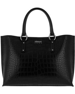 Shopping Bag Croco Strap Nero