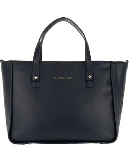 City Leather Tote Corp Tommy Navy