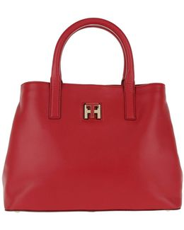 Twist Leather Small Tote Tommy Red