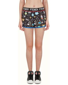 Faces Printed Stretch-jersey Shorts