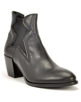 Block Heel Leather Bootie