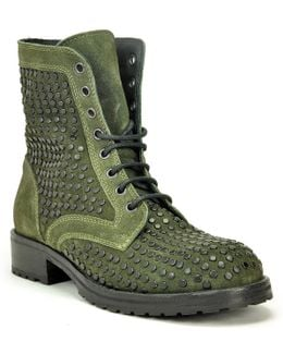 Studded Suede Lug Sole Ankle Boot