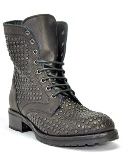 Studded Leather Lug Sole Ankle Boot