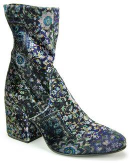 Blue Velvet Ankle Bootie