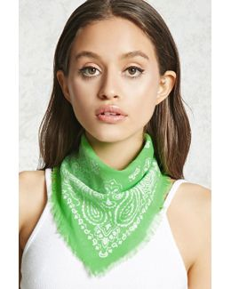 Frayed Paisley Square Scarf