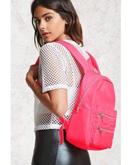 Dual Zip Nylon Backpack
