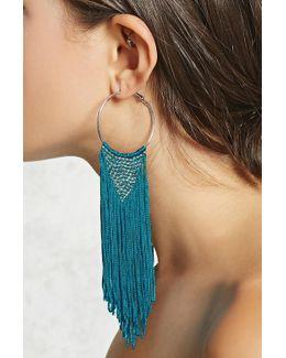Woven Fringe Hoop Earrings