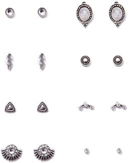 Etched Stud Earrings Set