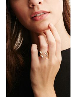 Cc Skye Stacked Faux Pearl And Rhinestone Ring
