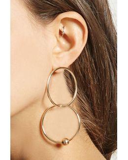 Beaded Hoop Drop Earrings