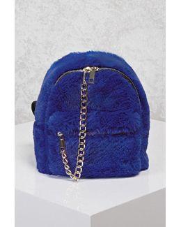 Faux Fur & Chain Mini Backpack