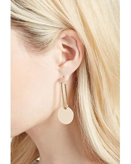 High-polish Disc Drop Earrings