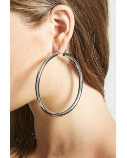 Thick Drop Hoop Earrings