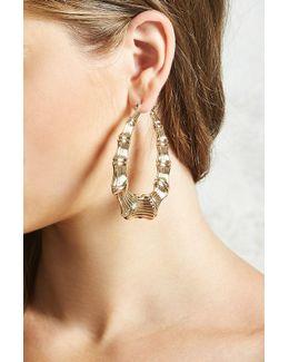 Bamboo Teardrop Hoop Earrings