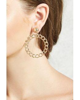 Chain Linked Drop Hoop Earrings