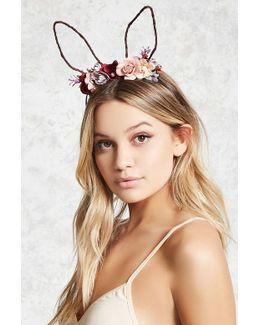 Floral Bunny Ear Headband
